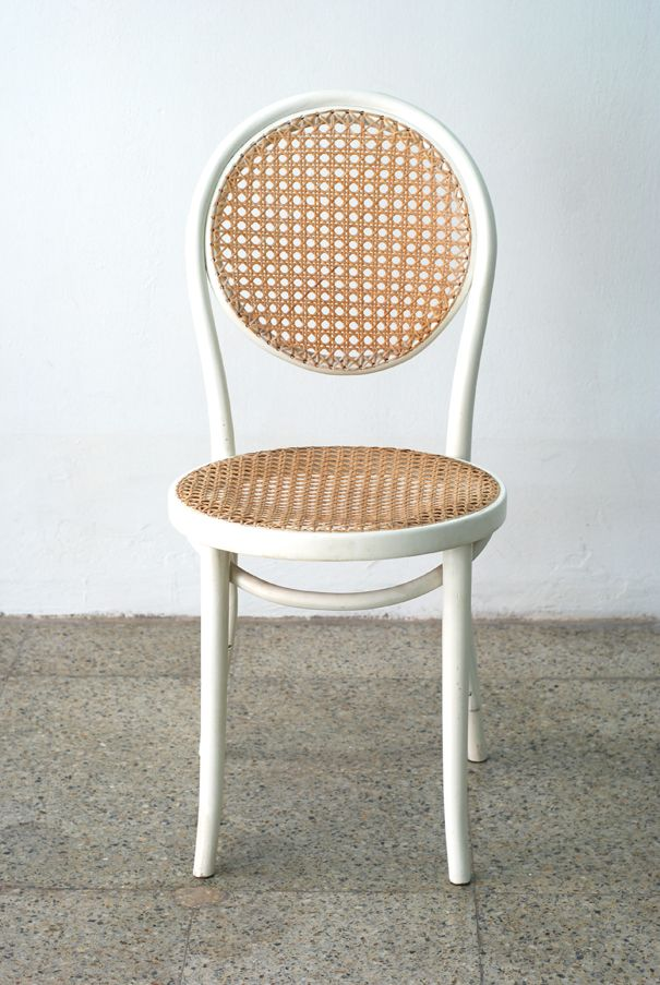 Thonet bentwood chair in white, with caned seat and back