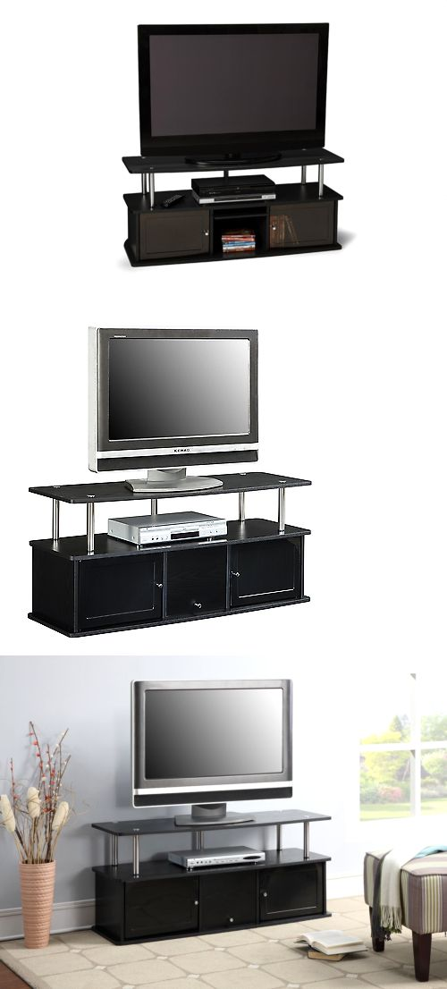 Entertainment Units TV Stands: Modern 50 Inch Tv Stand Entertainment Center Media Furniture Console Black Flat BUY IT NOW ONLY: $65.6