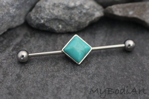 Turquoise Industrial Piercing Jewelry 14G Barbell at MyBodiArt