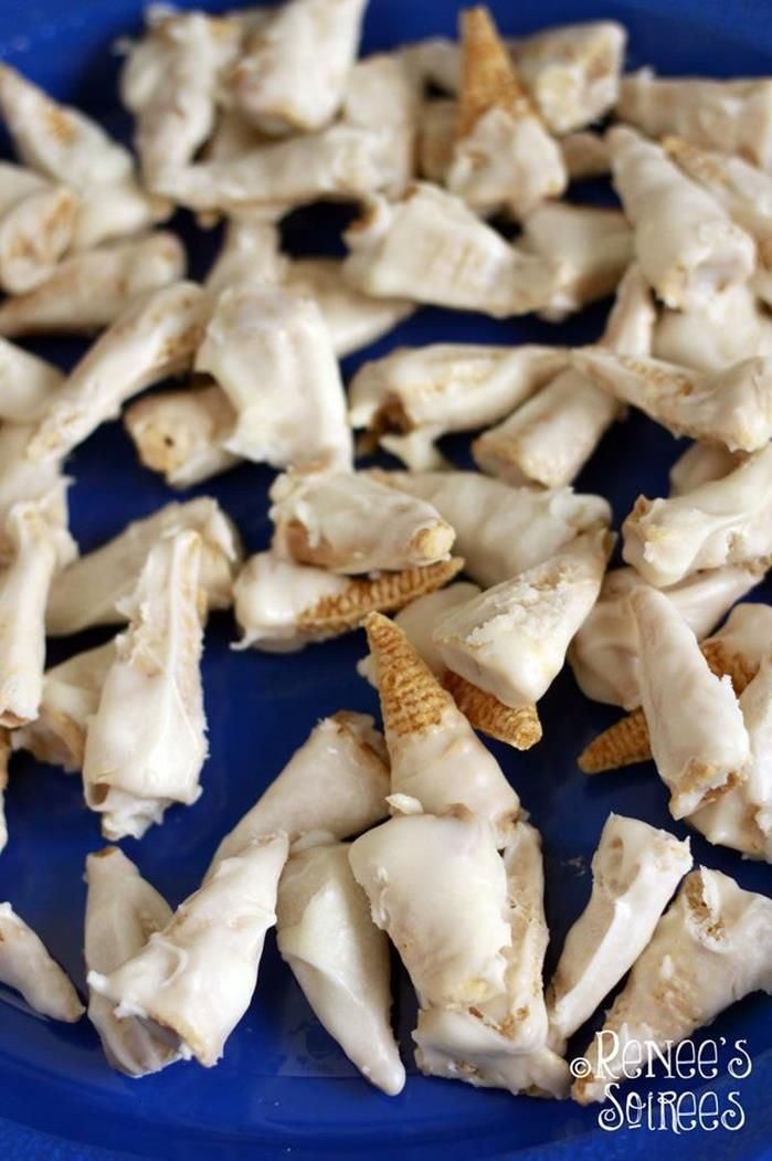 SHARK TEETH made with Bugles and White Chocolate! KarasPartyIdeas. #ReneesSoirees