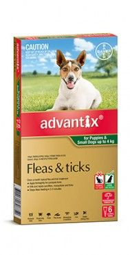 Advantix Dog 0-4kgs Small - 4's & 6's - Advantix kills and repels deadly paralysis ticks. It also kills fleas fast, and kills and repels brown dog ticks and bush ticks. Advantix also repels mosquitoes, sandflies and stable flies that can make your dog's life a misery.