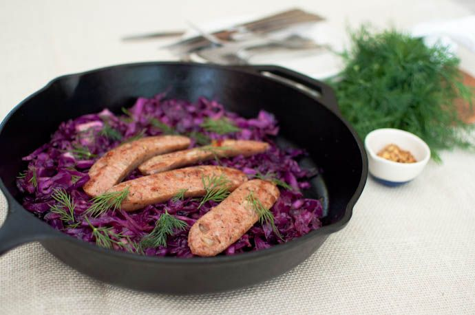 Pan-seared sausages with balsamic apple-cider cabbage. Attempting this recipe with our new cast iron skillet! It was great. Greg took the reins on this recipe and left the purple cabbage a little crunchy and the sausage was crumple instead of what's pictures.. Will do this recipe again.