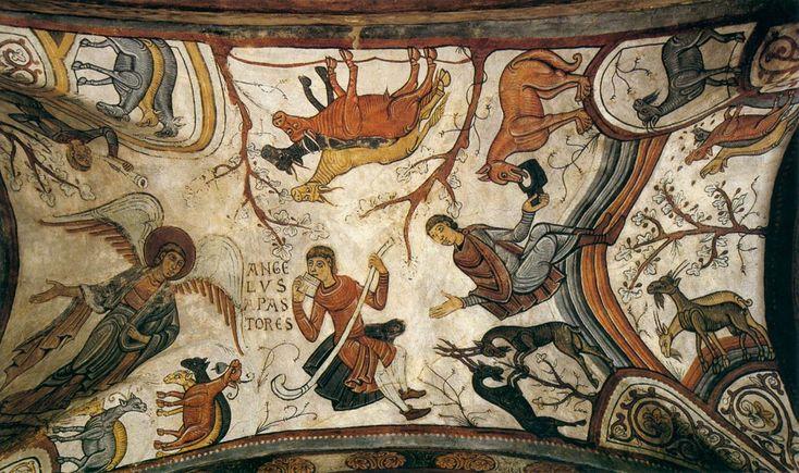 Unknown Romanesque painter, Catalan, Annunciation to the Shepherds (c1180). Fresco Panteón de los Reyes, Colegiata de San Isidoro, Léon