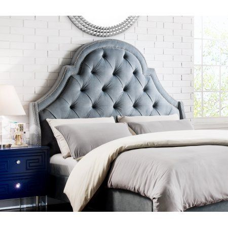Chic Home Constantine Velvet Modern Contemporary Button Tufted with Silver Nail heads Trim Queen Size Headboard, Slate Blue