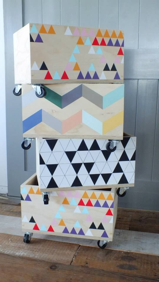 Sand back toy boxes, choose patterns to tape down or even decal stickers, add castors More