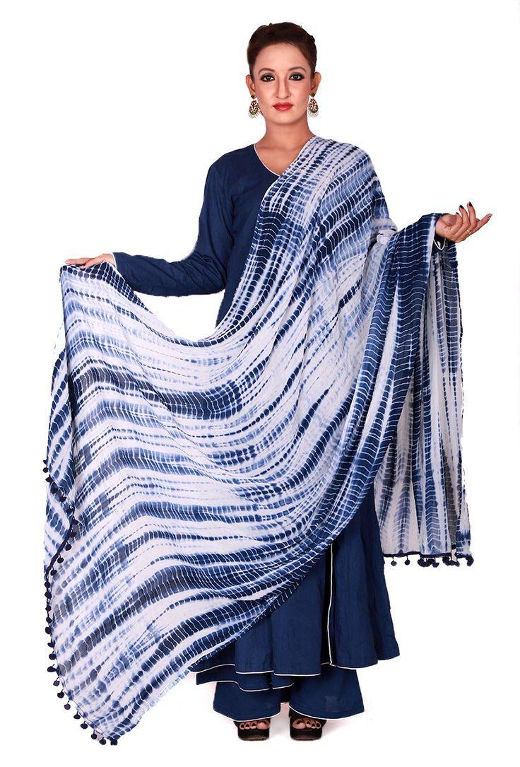 Navy Blue & White Tie Dye Dupatta - Knotted Wonders - Apparel   Tijori