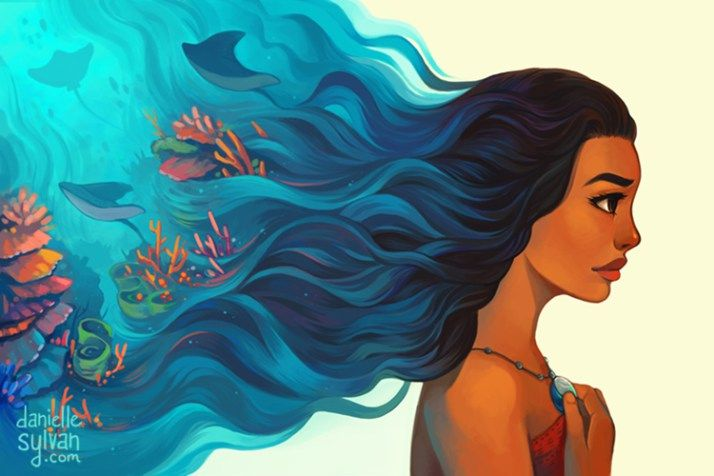 Moana and her hair is the ocean fan art