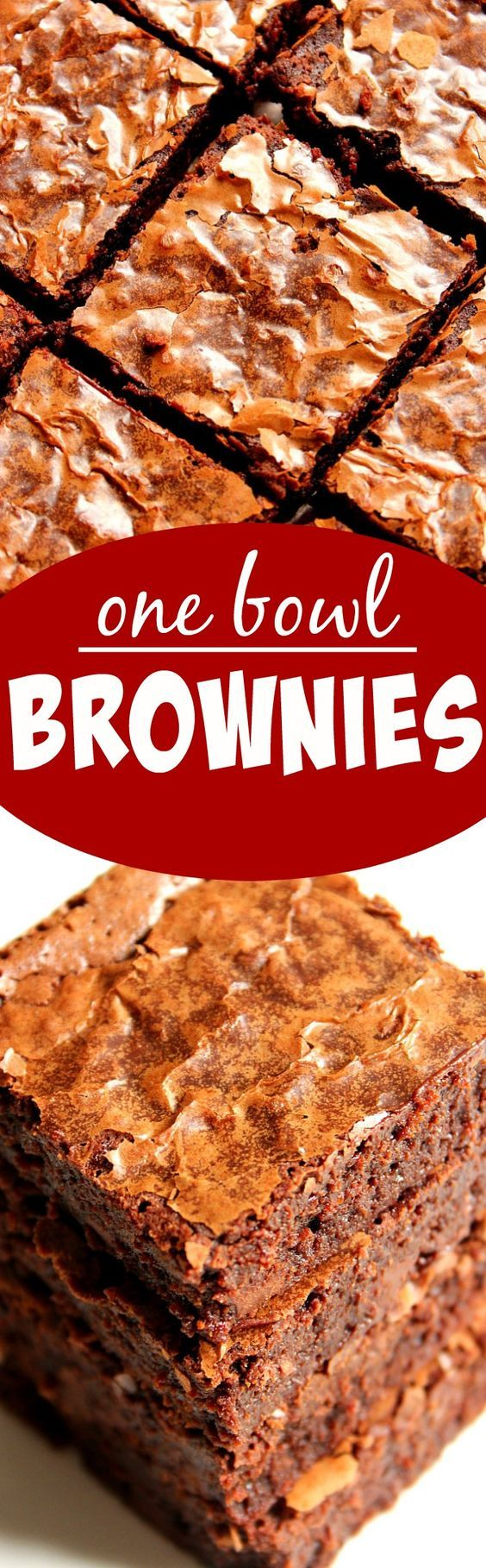 One Bowl Brownies Recipe - homemade from scratch brownies don't get easier than that! They are fudgy with soft, flaky top, melt-in-your-mouth! They taste and look like they were made out of the box mix but are quick, easy and made in one bowl!