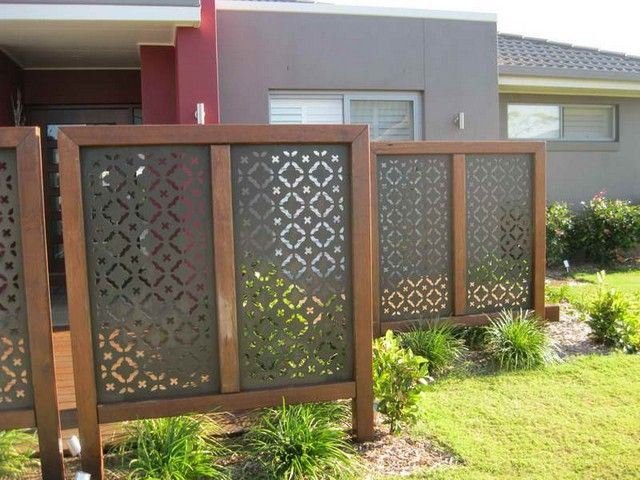 Photo only but vinyl screens of this type are available at Home Depot ~ Privacy  Screens - 17 Best Images About Yard Art & Privacy Screens On Pinterest