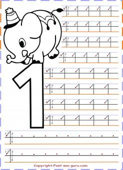 Numbers tracing worksheets 1 for kindergarten - Printable Coloring Pages For Kids