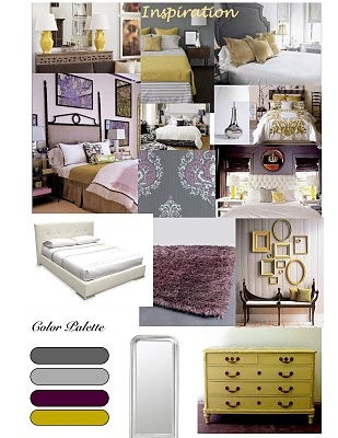 Bedroom Inspiration. Purples and yellows.