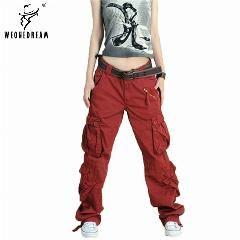 [ 23% OFF ] 2017 Plus Size 5Colors Cargo Pants Women's Overall,hip Hop Loose Jeans Baggy Pants For Women