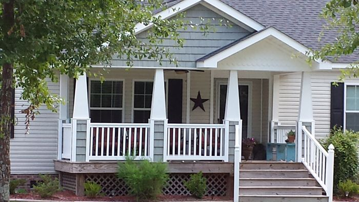 32 best images about dressed up ranch or rambler or cape for Front porch designs for modular homes