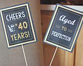 40th Birthday Party Centerpiece Sticks. Set of 2. Modern and Masculine Adult decoration. Black / Gold / Chalkboard. Any Age.