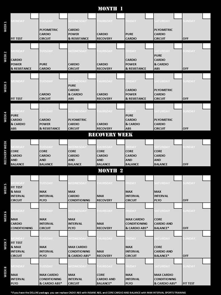 Insanity Workout Calendar - Just started this series this morning (thanks to my sister in law). Looking forward to the next couple of months!!