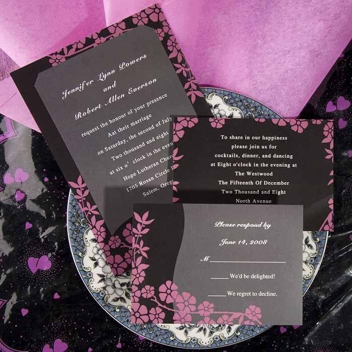 Black and Pink Wedding Invitations AUS012 Invitation