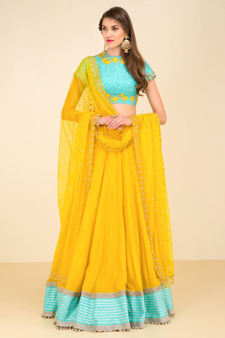 Rent DIVYA REDDY - Blue Floral Embroidered Blouse and Yellow Lehenga Skirt Set