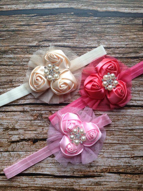 Easter Flower Headband, Easter Baby Headband, Valentines day headband, Wedding baby headband, My first Easter headband, baptism headband