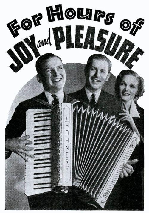 "Hohner-Werbung für Piano-Akkordeons von 1936 ""For Hours of Joy and Pleasure""."