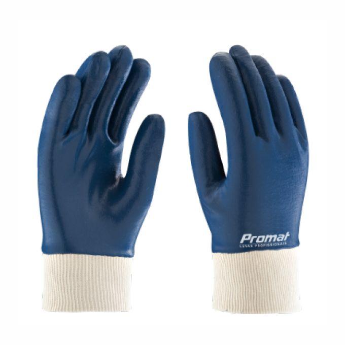 Fabricante: PROMAT   Tamanhos Disponíveis: T7,5 - T8,5 - T9,5  Descrição:  Luva de segurança confeccionada em malha de algodão (suedine) com revestimento em látex nitrílico na palma, dedos e dorso, punho em malha de algodão.