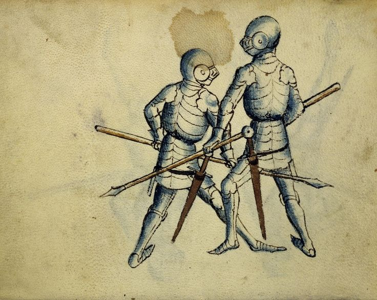 Cod. 11093, 3v: Book on Swordsmanship and Wrestling, mid-15th c. Austrian National Library, Public Domain