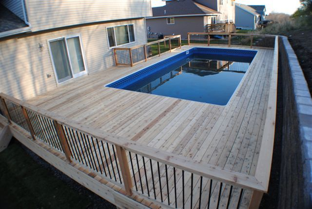 Above Ground Pools Decks Idea | 18×38 Rectangle with Auto Cover & Stamped Concrete