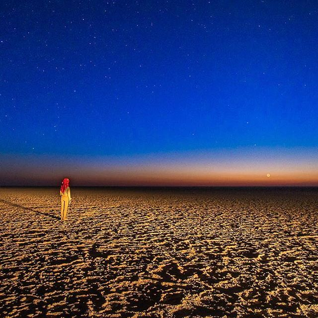 "Photo by @FransLanting Twilight blurs the edges between earth and sky as a lone observer watches the full moon rise at the edge of the vast Makgadikgadi salt pans, the remnants of an ancient lake that dried up thousands of years ago. This image is featured in our new book ""Into Africa,"" which has just been released. It is based on our @NatGeo exhibition of the same name. To see more images of wild Africa and to learn more about the book follow me @FransLanting. @natgeocreative…"