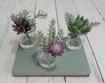 TRIO succulent plants Artificial grey purple pink succulents Faux cactus Small glass vase set Mothers day gift ideas Fake succulents