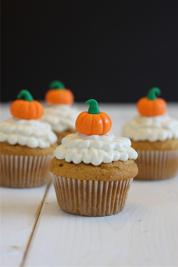 Pumpkin Cupcakes with Orange Cream Cheese Icing | Recipe