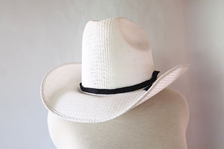 Vintage White Cowboy Hat, Western, 70s 60s, Western Hat, Vintage Hat, Women's Vintage Hats, Dolly Parton, Men's Vintage, Mexico Size…