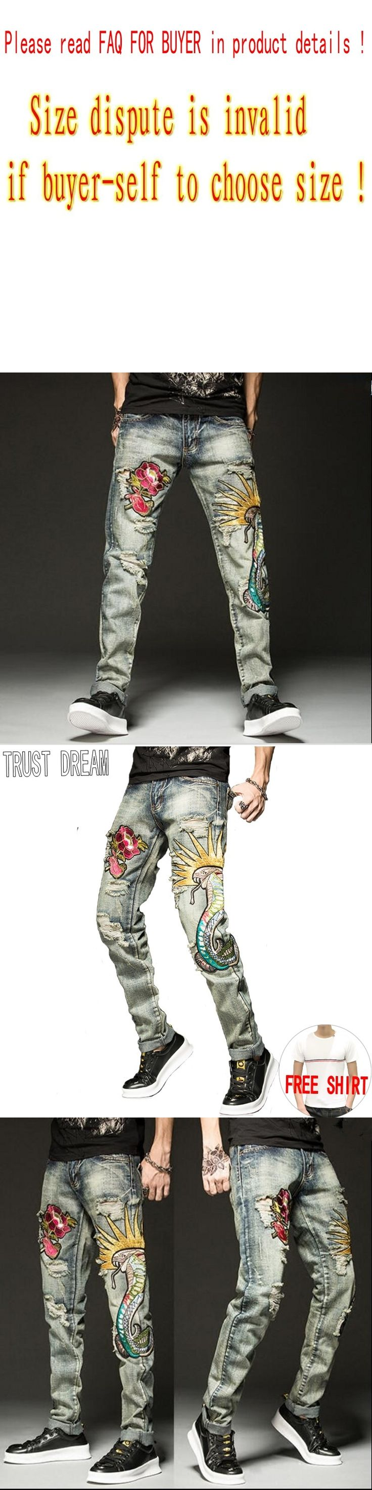 TRUST DREAM Europeans Style Men hEmbroidery Rose Snake Slim Jean Casual Distressed Ripped Hole Man Persoanal Quality Jeans
