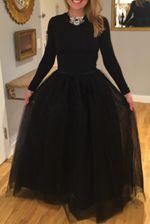Black Plain Draped Grenadine Puffy Tulle Elastic Waist Fashion Long Tutu Skirt