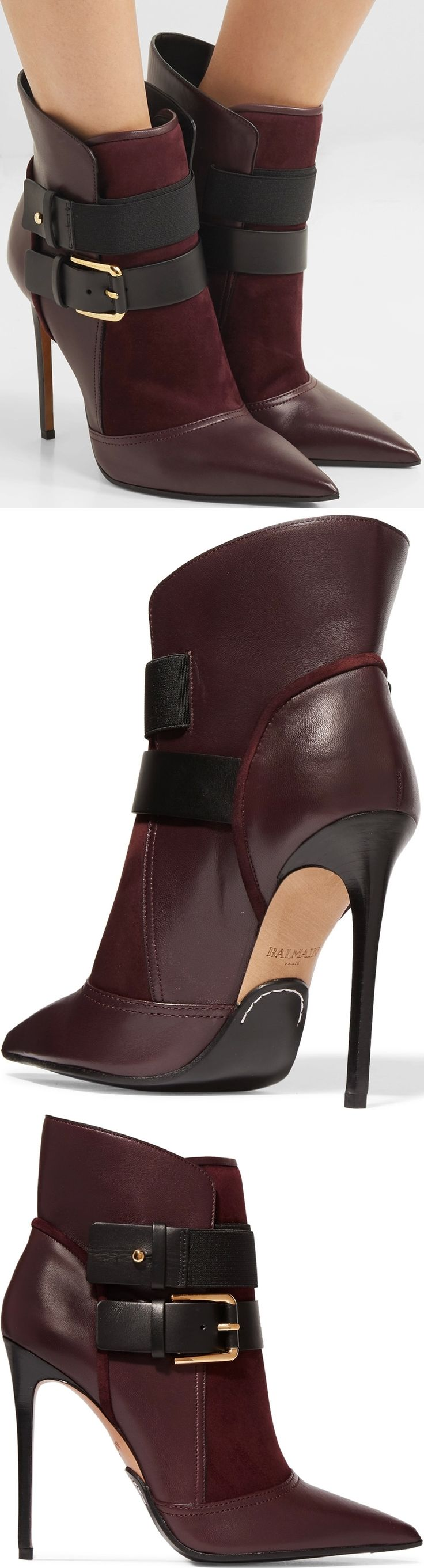 Made in Italy from a combination of plum leather and suede, this Anais buckled ankle boot from Balmain is detailed with elasticated straps and gold buckles.