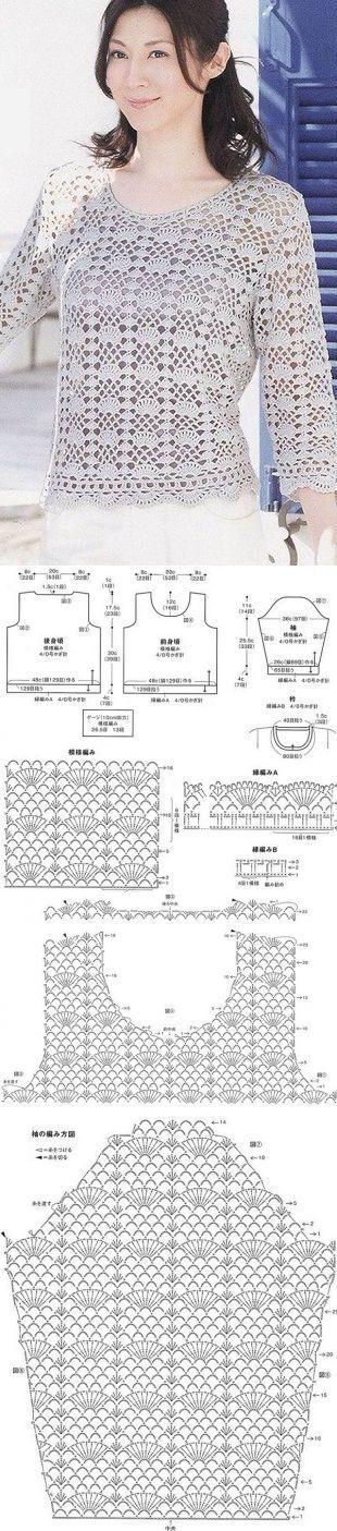 Связать ажурный пуловер [] # # #Crochet #Tops, # #Jersey, # #Knitting, # #Pullover, # #Facebook, # #T-shirt, # #Blusas #Tejidas, # #Dresses, # #Blusas #Crochet