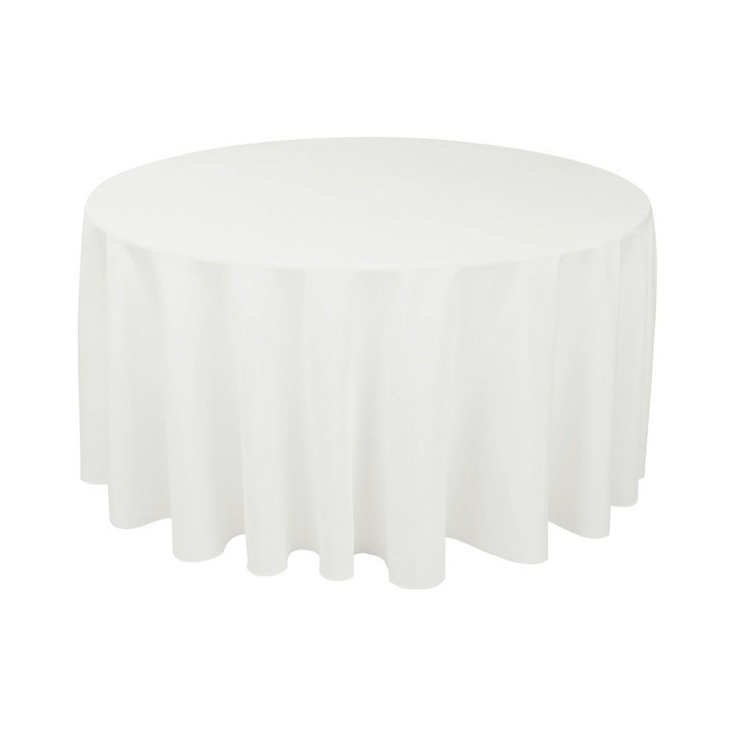 120 Inch Round Poly Over 60 Inch Table   Available In Ivory, White, Black
