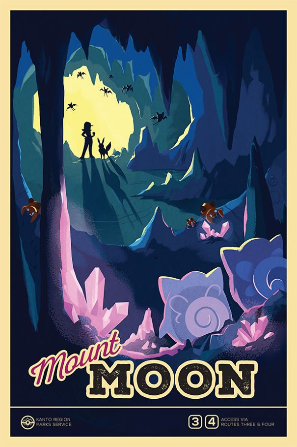 I Illustrated Pokemon Locations As National Parks Posters | Bored Panda