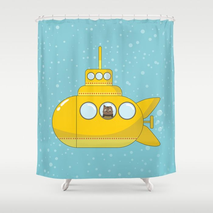 Yellow Submarine With A Cat And Bubbles Shower Curtain With Images Shower Curtain Shower Curtains