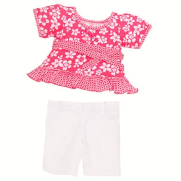 Build A Bear Limited Too Coral Floral Gingham Babydoll Shirt
