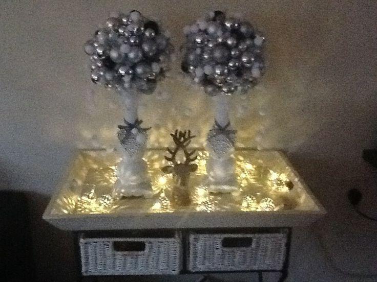 Piepschuimbol en dan kerstballetjes erop lijmen met lijmpistool,wel de haakjes van de balletjes verwijderd