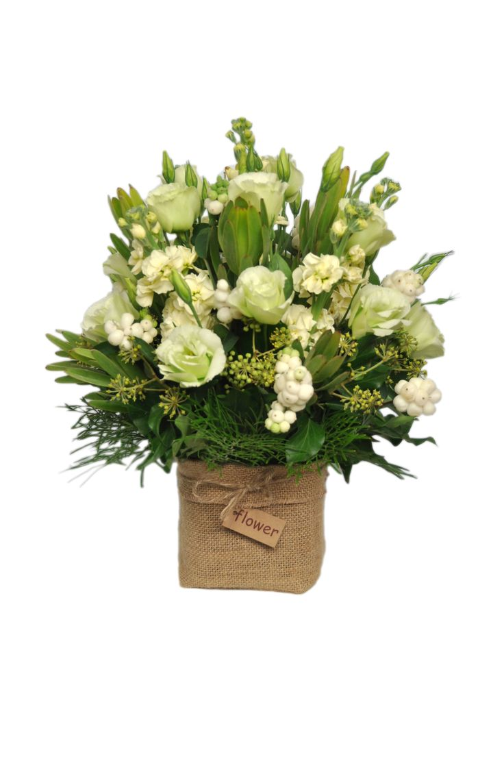Cream and green arrangement - Donvale Flower Gallery