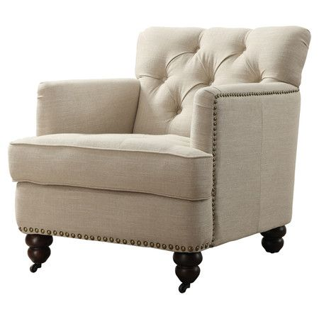 living room arm chair showcasing a tufted back and nailhead trim this linen 12946