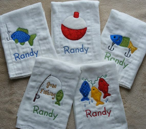 Personalized Fishing Burp Cloth Set by mamahattie on Etsy