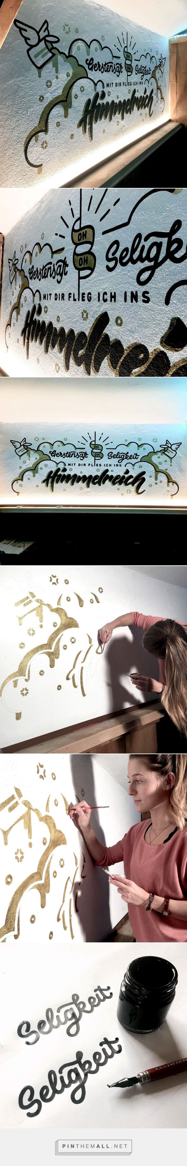 Beer-themed Wall Art combining lettering and illustration. Drawn with metallic effect gold wall paint. - created via https://pinthemall.net
