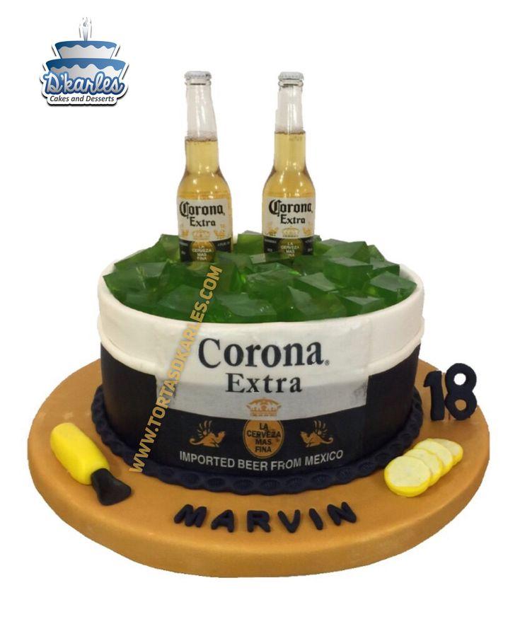 Torta Cerveza Corona: Sorprende a papá, al novio, a tu hermano o sencillamente a tu amigo, adquiere o prepara este hermoso diseño acompañado de un par de cervezas reales!!