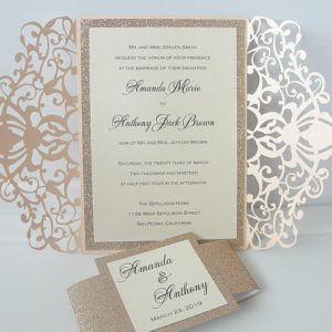 ♥ INVITATION LISTING COLORS ♥This uniquely inspired invitation is printed on ivory shimmer cardstock backed by sand glitter cardstock nestled neatly inside