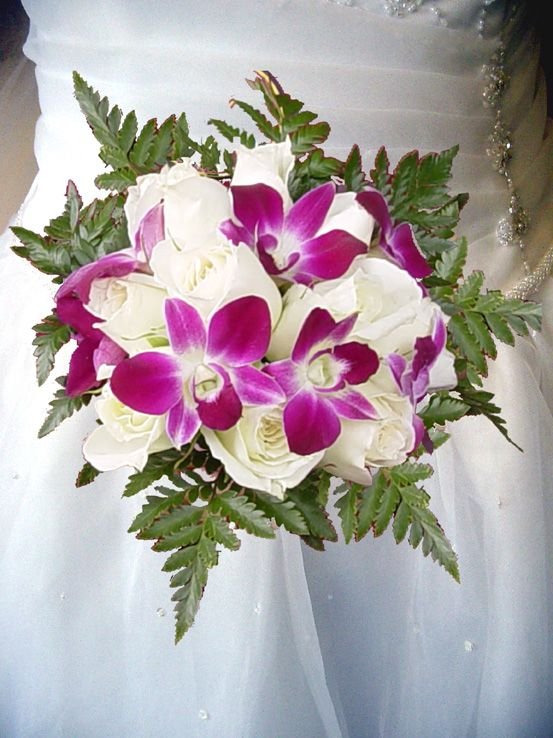 White Roses and Purple Dendrobium Orchids Wedding Bouquet