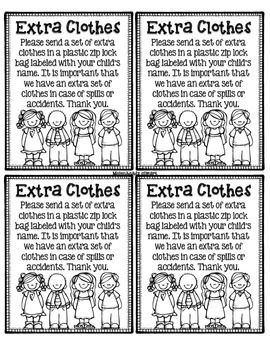 extra clothes note home - accident note home included