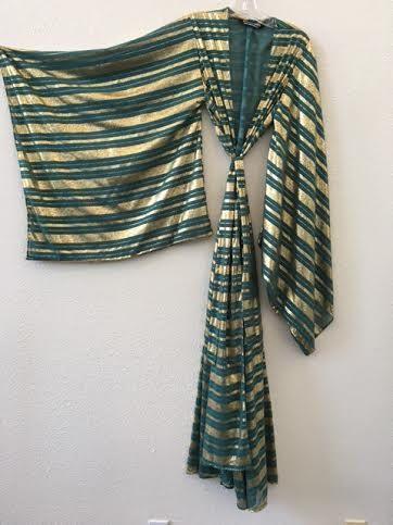 Kimono Emerald Gold Metallic Printed Stripe Sheer Chiffon Handmade