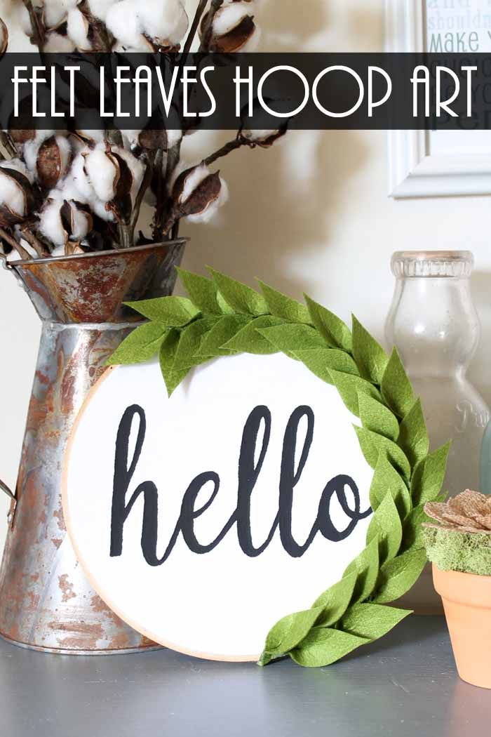 This wall hanging craft is perfect for your farmhouse home! Add felt leaves to some hoop art for a gorgeous addition to your home! The best part? No cutting machine is required!