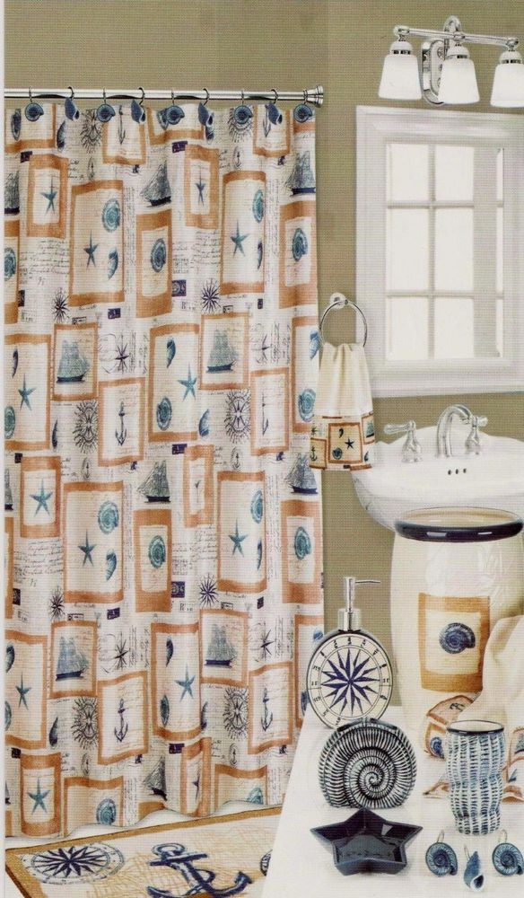 53 best Bath Decor images on Pinterest | Fabric shower curtains ...
